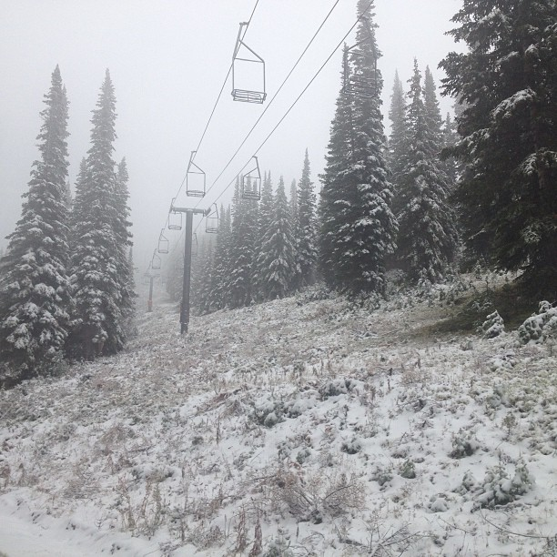 There was snow Monday morning at Steamboat Ski Area.