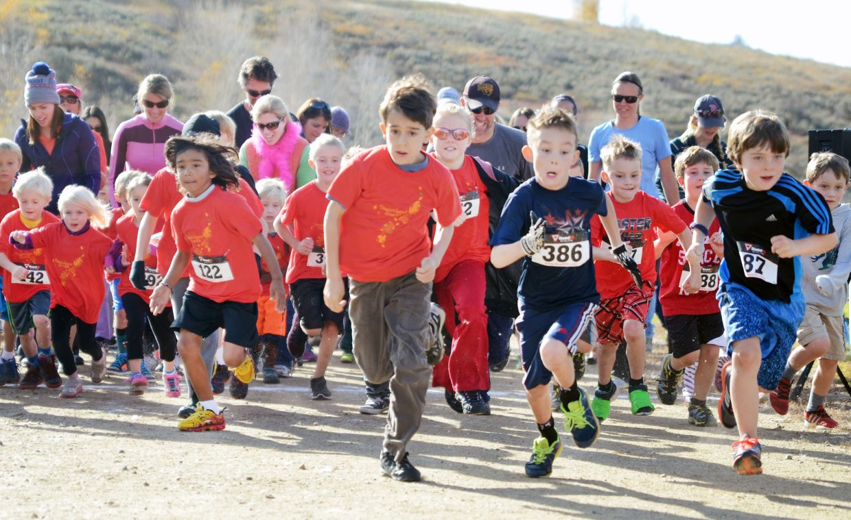 Steamboat Sneak fun run racers get off to a sprint Saturday along the Steamboat Springs Middle School track. The fundraiser race, a partnership with the Challenge Fund, raised money for Strawberry Park and Soda Creek elementary schools.