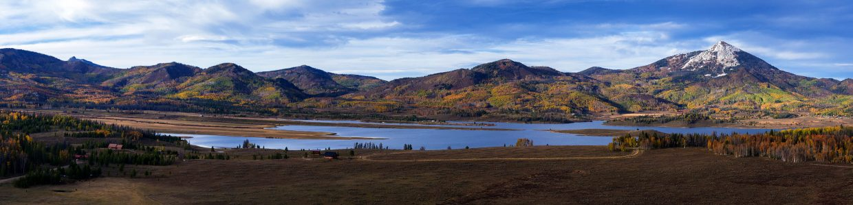 Aerial panorama of Steamboat Lake and Hahn's Peak. Submitted by: Cedar Beauregard