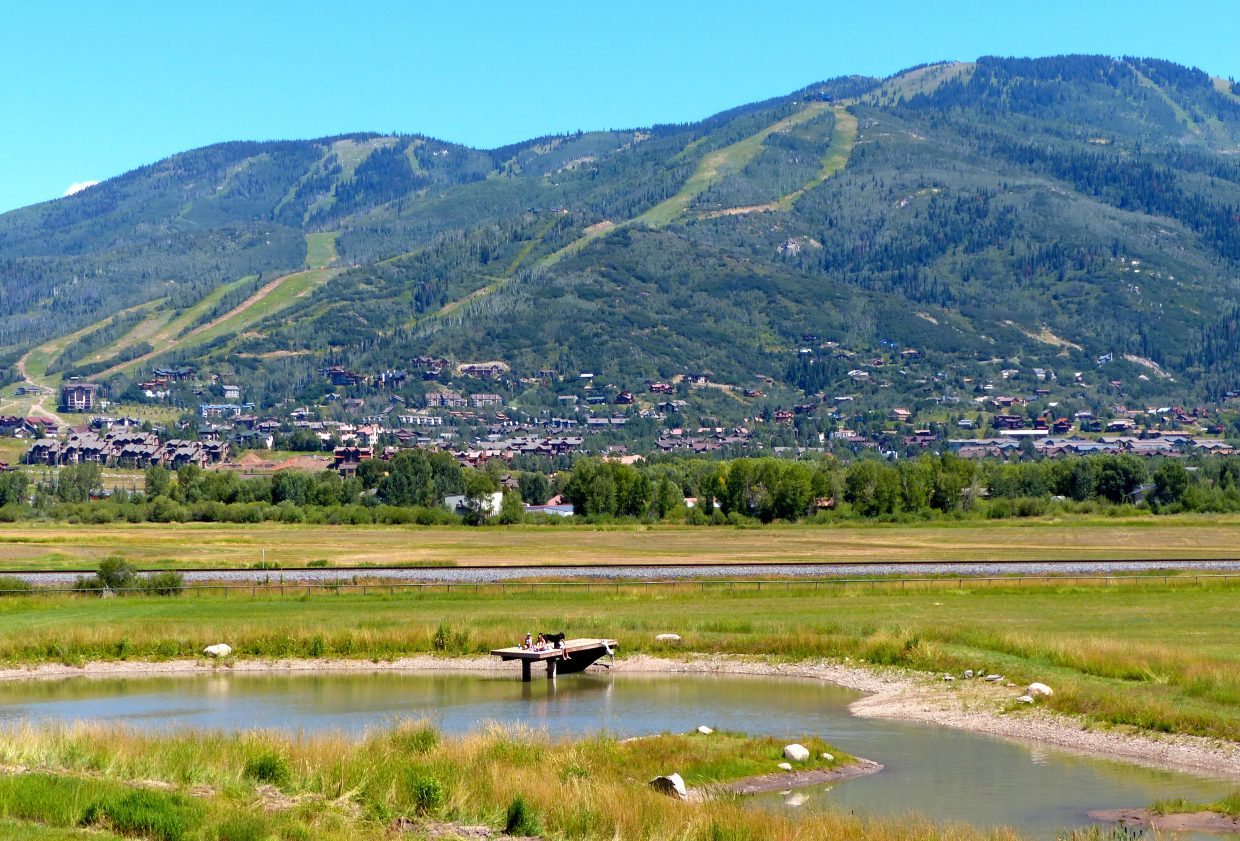 Steamboat Ski Area with a pond in the foreground. Some kids and dogs are playing on the dock. One dog is actually jumping into the lake at the exact time that I took the picture! Submitted by Shannon Lukens.