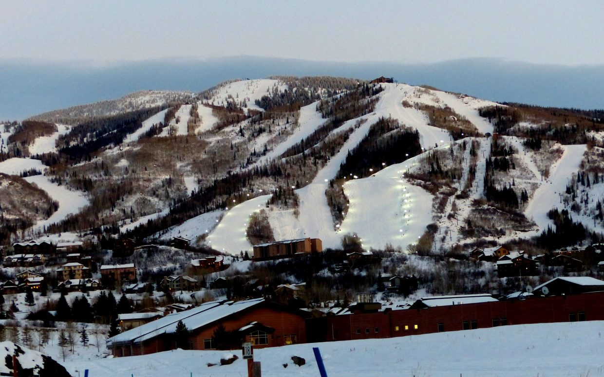 The lights on the mountain, all lit up for night skiing tonight (with the hospital in the foreground). Photo submitted by Shannon Lukens.