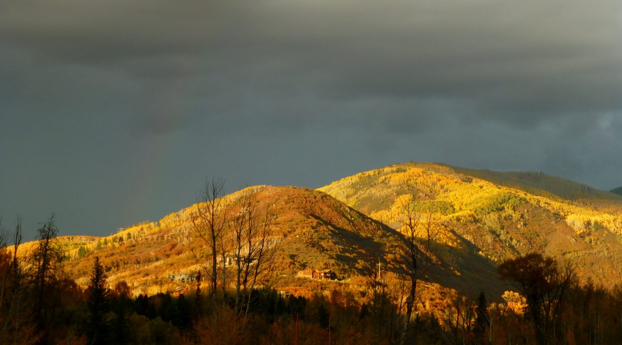 Steamboat sunset on Friday with faint rainbow on left. Submitted by: Gail Hanley
