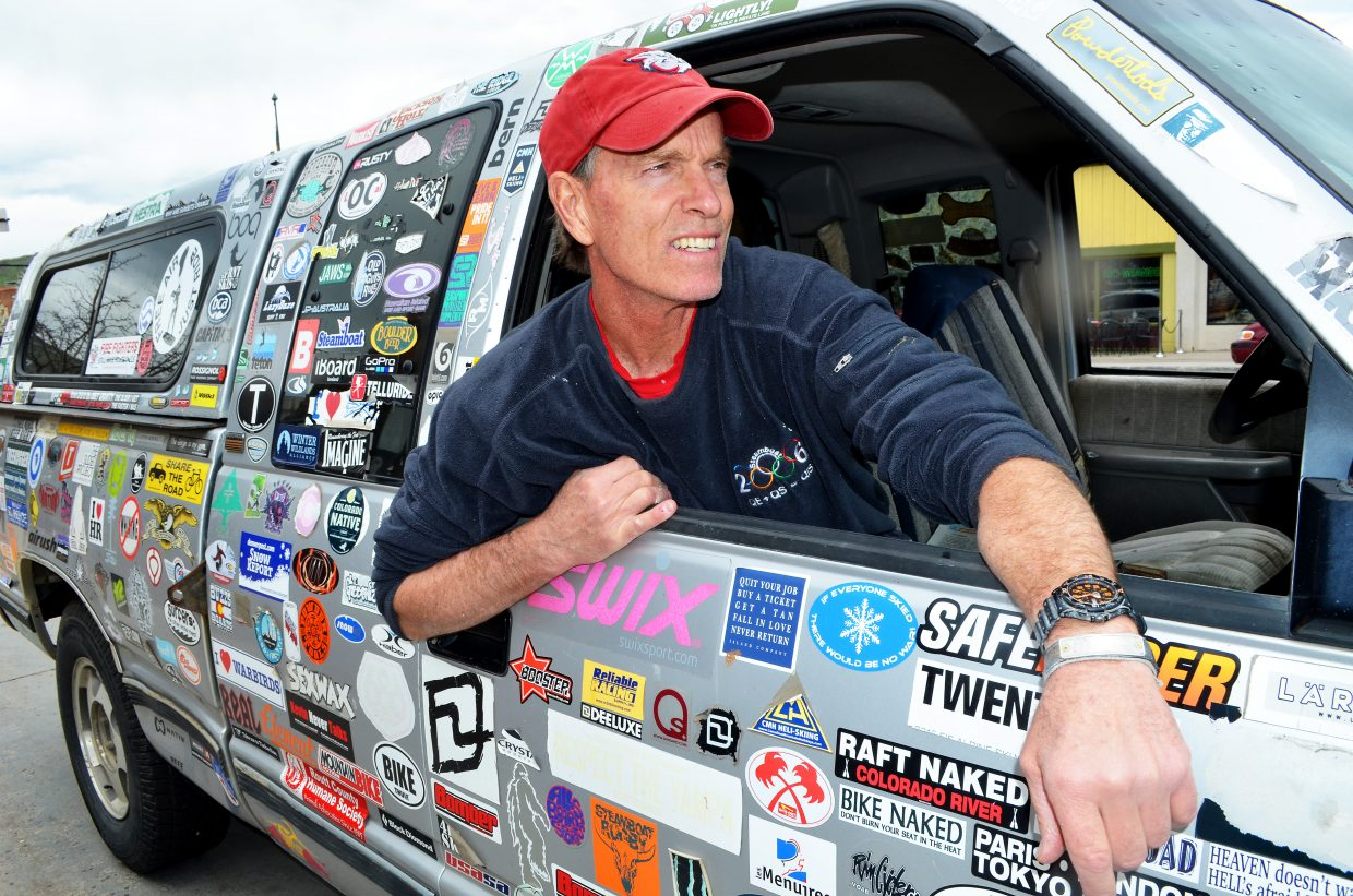 Commercial painter Tom Barr, of Steamboat Springs, has given almost the entire surface of his work truck to a constantly evolving collection of stickers. His collection has a heavy concentration in skiing, surfing and kite surfing destinations.