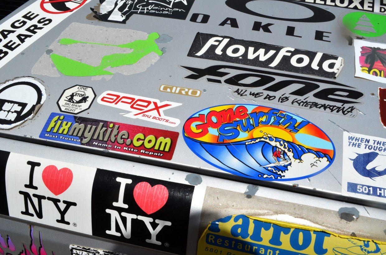 Tom Barr's collection of stickers began with a little league sticker he placed on the bumper of his Chevy Silverado in 2001. Running out of space for new stickers, he contemplating the sacrifice of some of the older stickers that are beginning to peel away from the body of the truck.