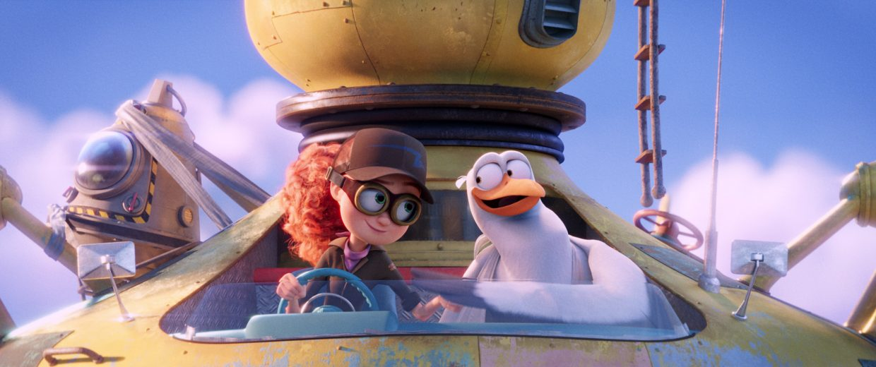 "Tulip and Junior the stork (voices of Katie Crown, Andy Samberg) banter back and forth in ""Storks."" The movie is about a stork delivery service that finds itself having to deliver a baby for the first time in years."