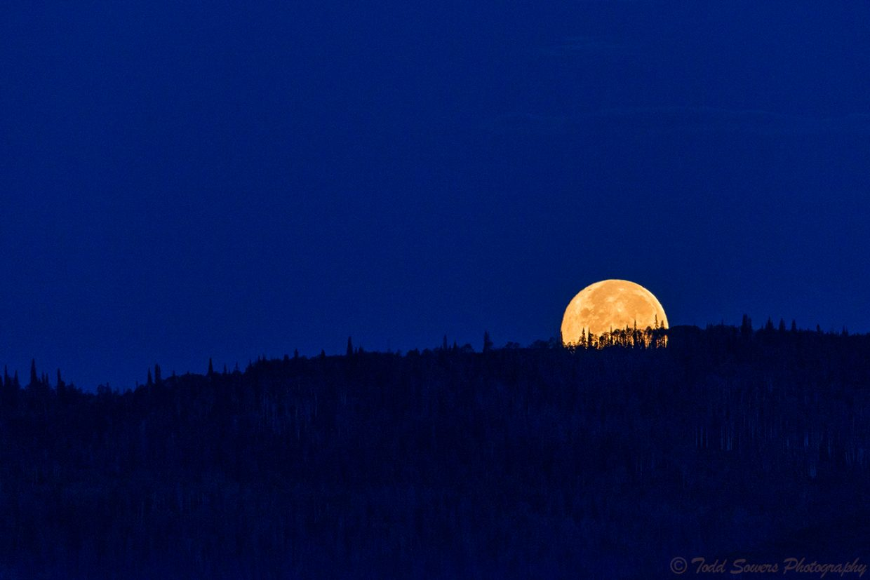 """Sunday's early morning """"Super Moon"""" setting behind Howelsen Hill. Submitted by Todd Sowers."""