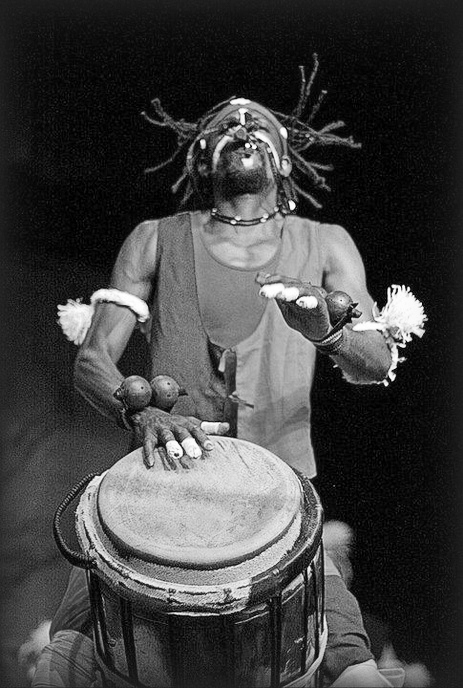 Leader of the band, Tambours Sans Frontiers, Teber Milandou Sita in this photo plays the drums. He will be in town this week for a workshop and performance.