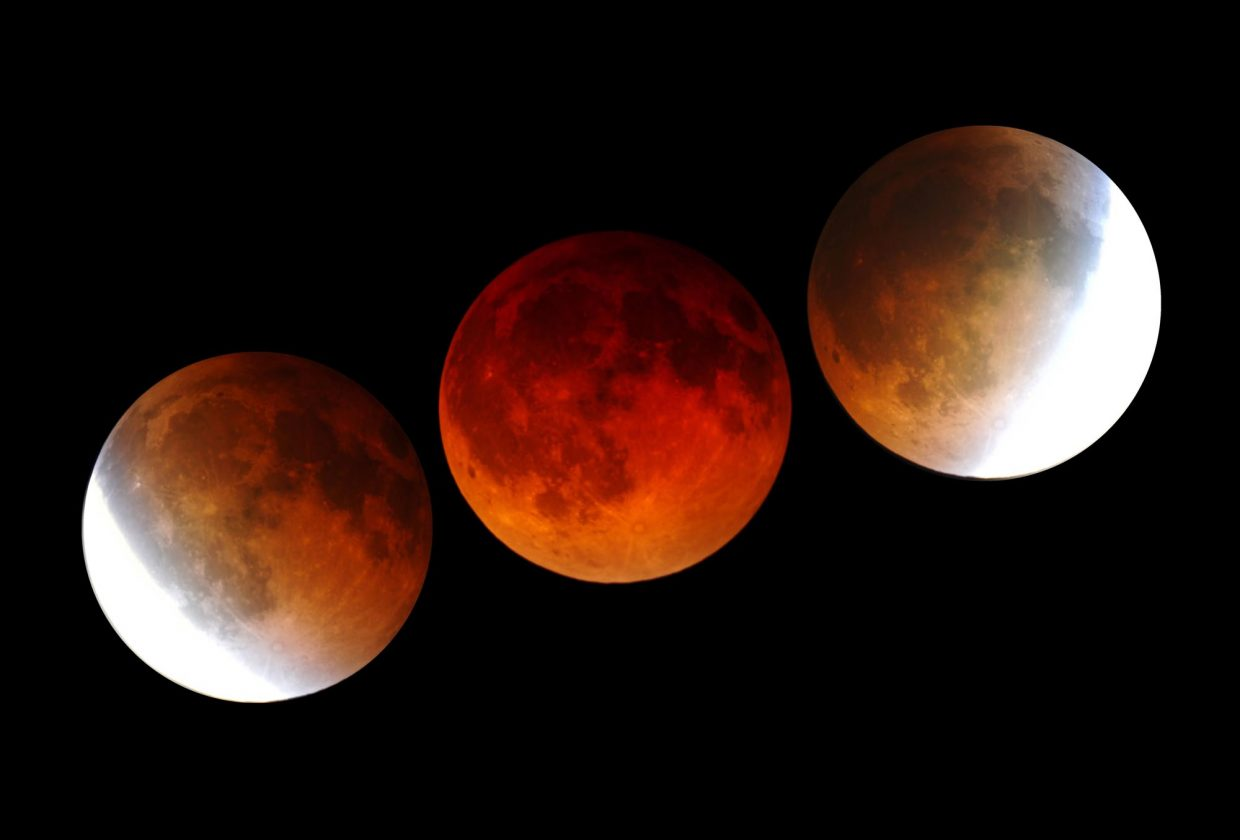 Last April's total lunar eclipse was captured in this series of telescopic images, which were taken about an hour apart. A similar total eclipse of the moon will happen Oct. 8 before dawn, the second in a tetrad of total lunar eclipses visible from Colorado in 2014-15.