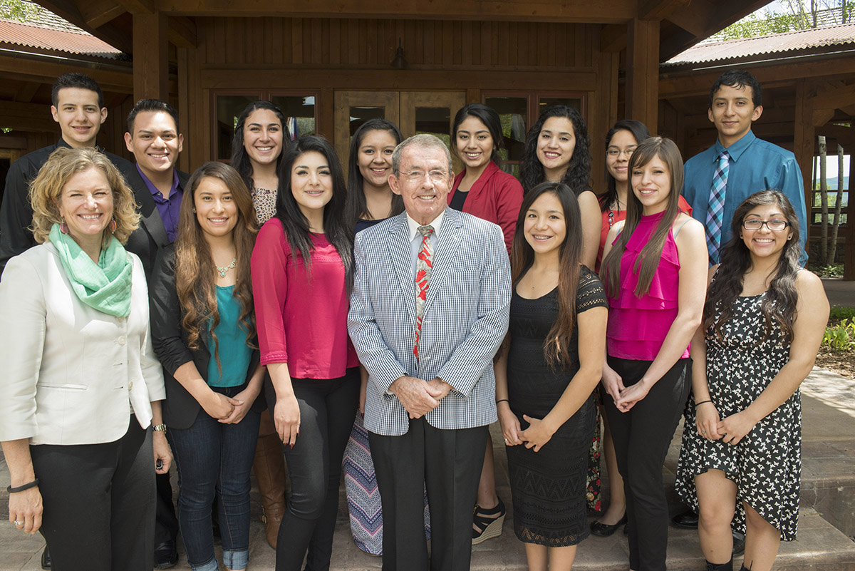 Alpine Bank Chairman Bob Young is surrounded by the 2015 class of Alpine Bank Latino/Hispanic Scholarship recipients, including Thania Núñez (front row, second from right), following a recent awards luncheon.