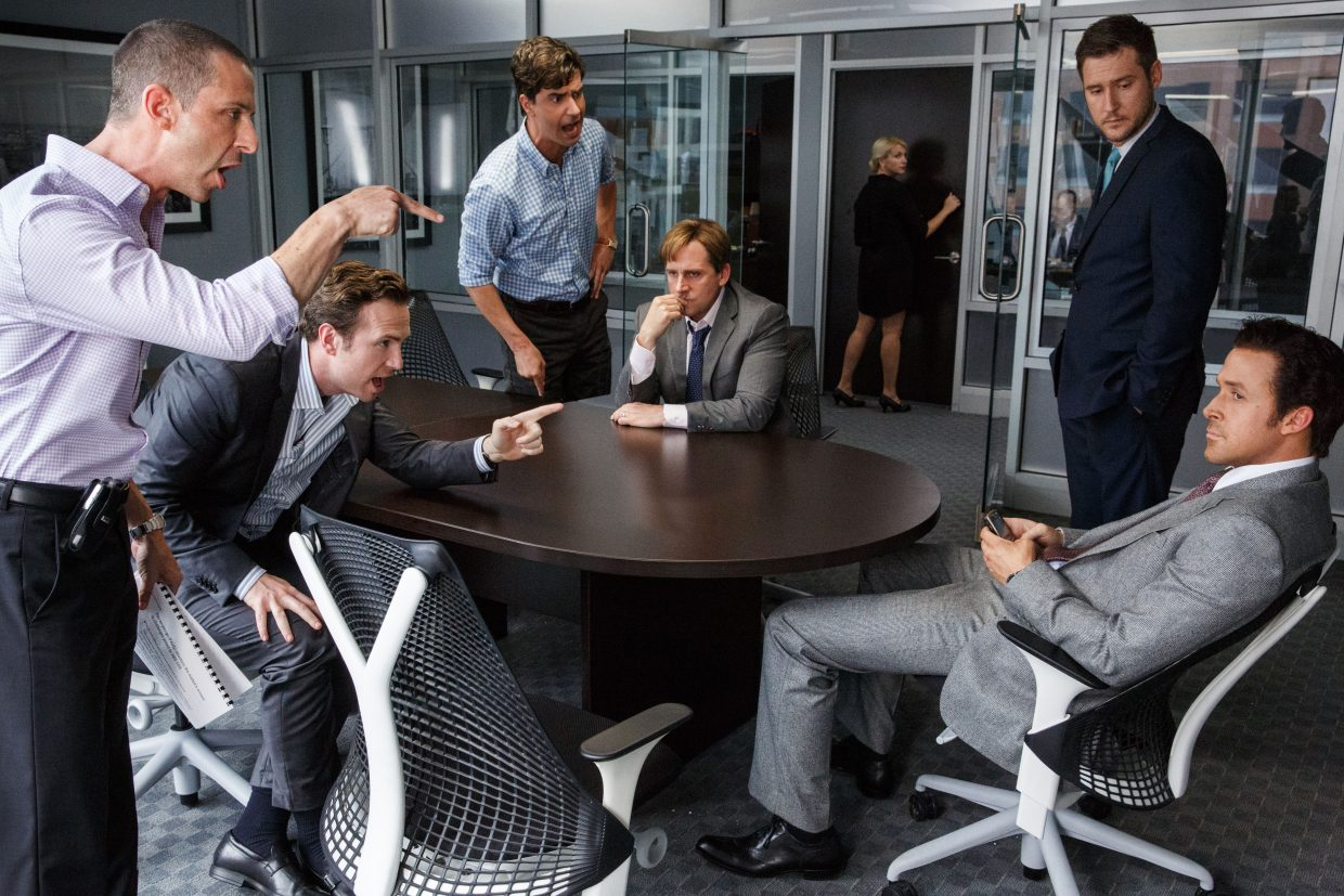 """Mark Baum and Jared Vennett (Steve Carell, Ryan Gosling) consider the risk of betting against the housing market in """"The Big Short."""" The movie is about the events leading up to the financial crisis of 2008 and a number of people able to benefit from the financial mess."""
