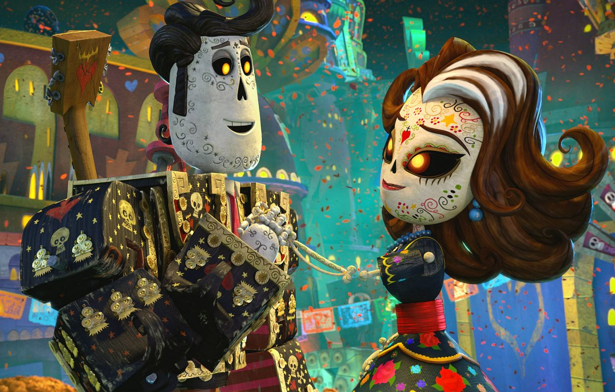 """Manolo (voice of Diego Luna) meets his deceased mother (Ana de la Reguera) among the residents of the Land of the Remembered in """"The Book of Life."""" The movie is about a young man traveling through the afterlife to be with the woman he loves."""