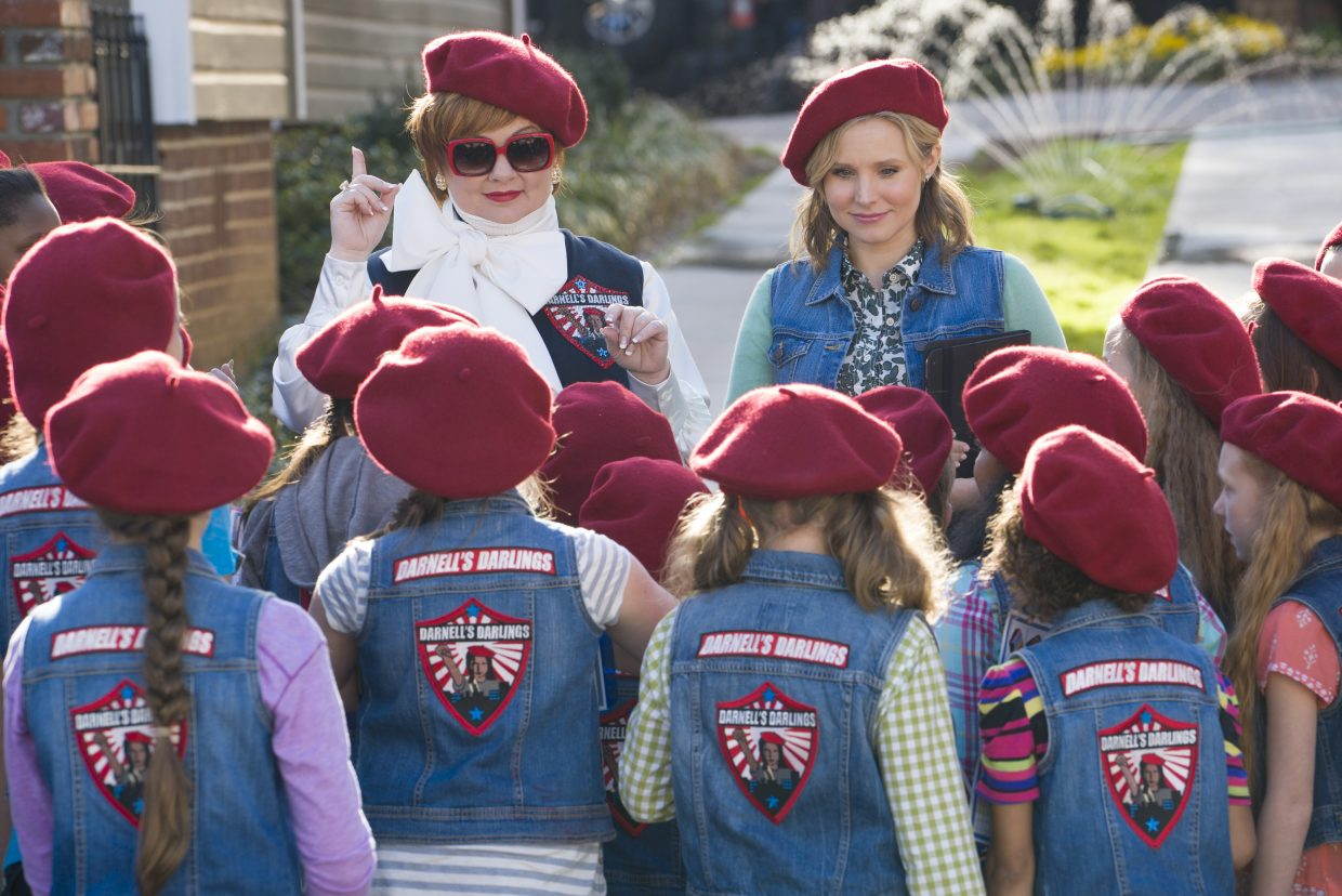 """Michelle Darnell and Claire Rawlins (Melissa McCarthy, Kristen Bell) teach their new scout troop a thing or two about sales in """"The Boss."""" The movie is about a disgraced businesswoman who works to redeem herself after a stint in prison for insider trading."""