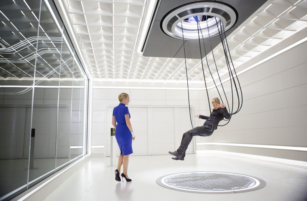 """Jeanine Matthews (Kate Winslet) subjects Tris Prior (Shailene Woodley) to a series of tests in """"The Divergent Series: Insurgent."""" The movie is the second in the franchise about a futuristic society in which the population is forced into groups based on their personality."""