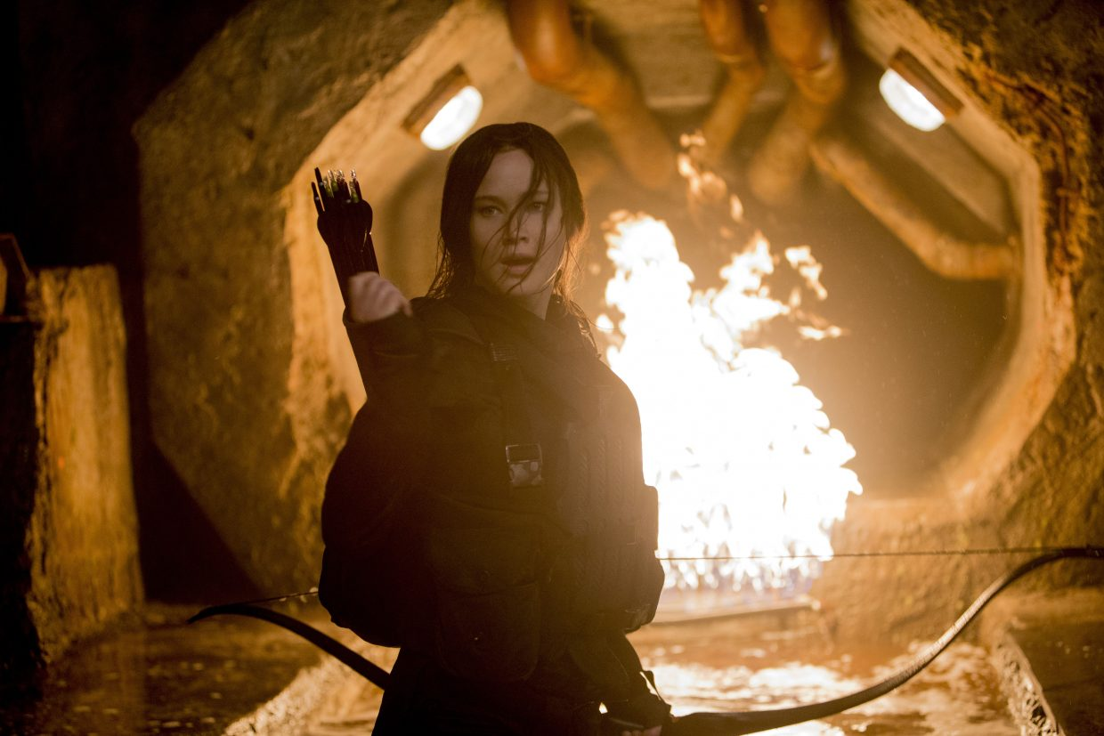 "Katniss Everdeen (Jennifer Lawrence) fights through a variety of booby traps in her assault on the Capitol in ""The Hunger Games: Mockingjay — Part 2."" The movie is the final entry in the series about a teenage girl leading a resistance against a dystopic society."