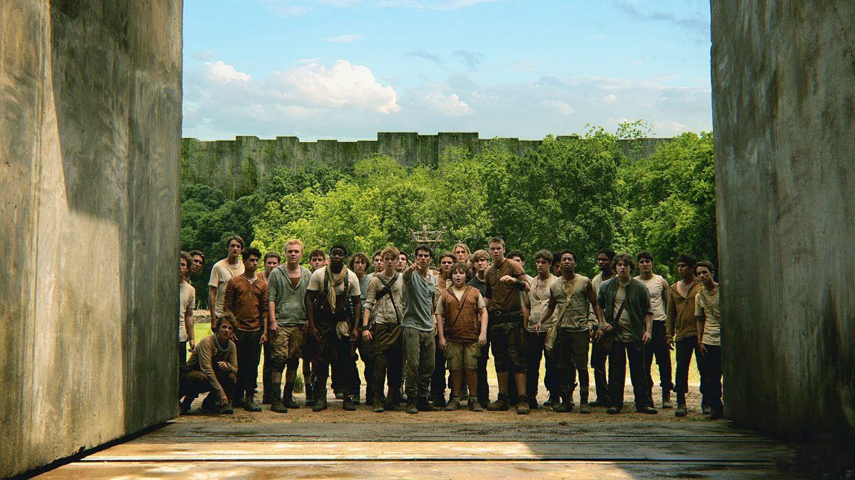 """The residents of the Glade stare into the depths of the maze that surrounds their home in """"The Maze Runner."""" The movie is about a group of young men mysteriously placed into a natural setting surrounded by a giant shifting maze."""