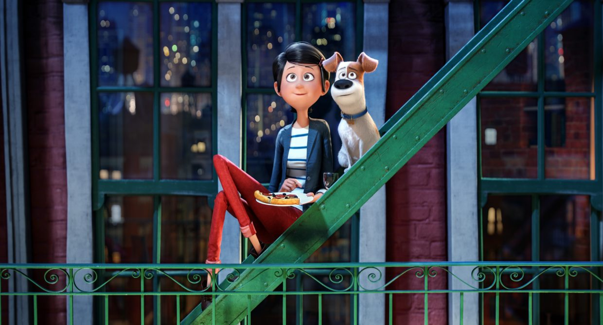 """Max and his owner, Katie, (voices of Louis CK and Ellie Kemper) enjoy each other's company in """"The Secret Life of Pets."""" The movie is about a terrier who feels threatened by a new dog in his home, only for both animals to get lost in New York City."""