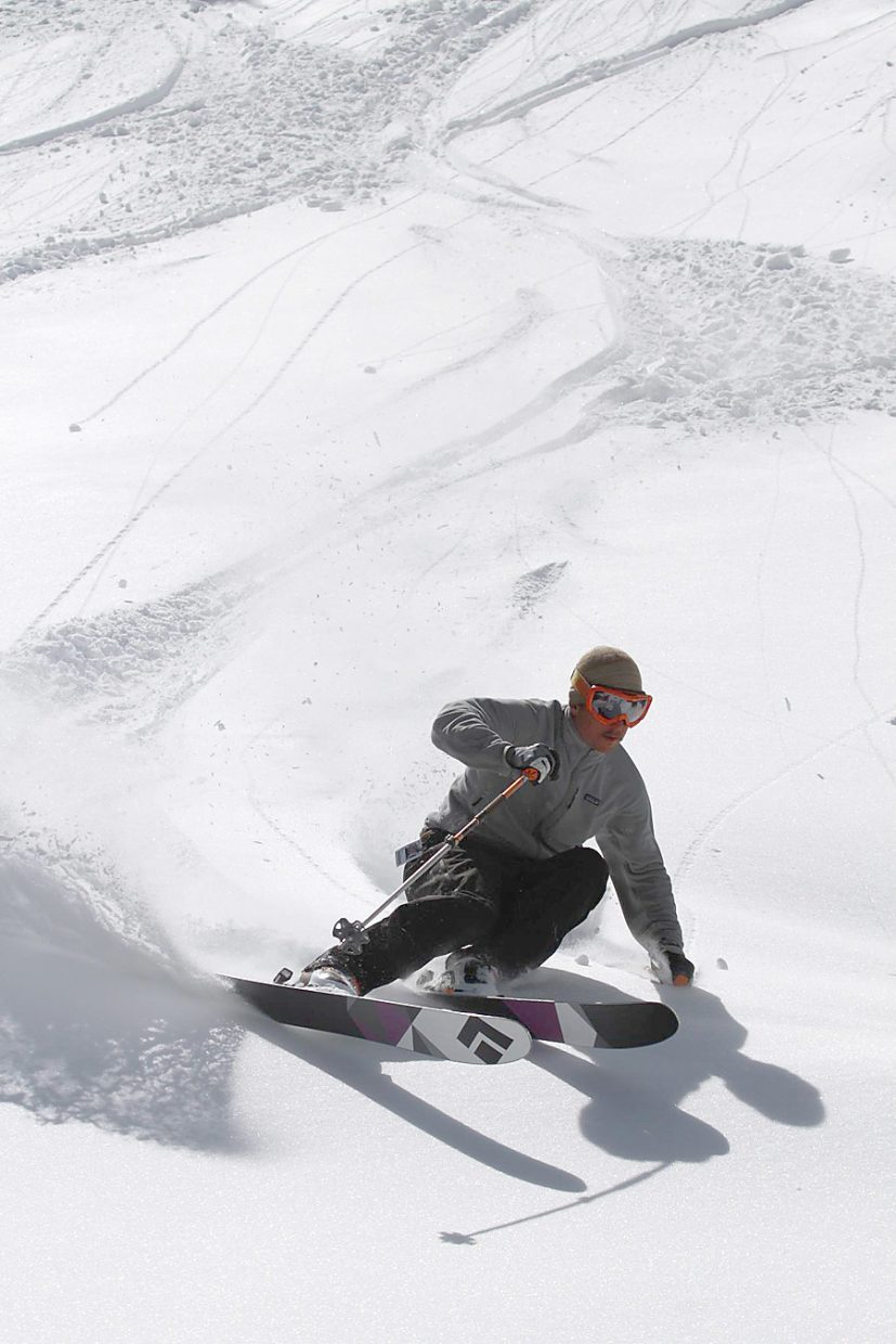 Soren Jespersen skied 60 days at Steamboat Ski Area this winter and used a GPS app on his mobile phone to record all but a handful of his runs and later superimposed them on a Google Earth image of the ski area.