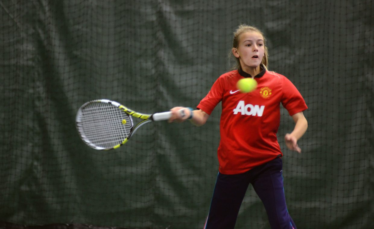 Steamboat Springs' Mae Thorp returns a shot against Julia Rydel on Sunday morning at the 21st annual Intermountain 12 and Under Tennis Championships. Champions play will wrap up Monday morning.
