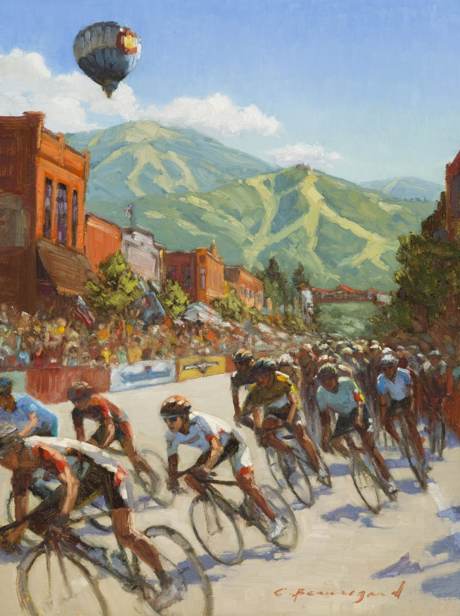 This piece was made by local artist Chula Beauregard for the inaugural Steamboat CycleArt event featuring bike-inspired artwork like this one from the 2015 USA Pro Challenge.
