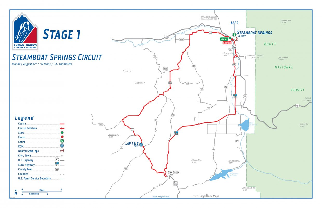 The first stage of the USA Pro Challenge will start and end in Steamboat Springs and will include two 49-mile laps on Twentymile Road.