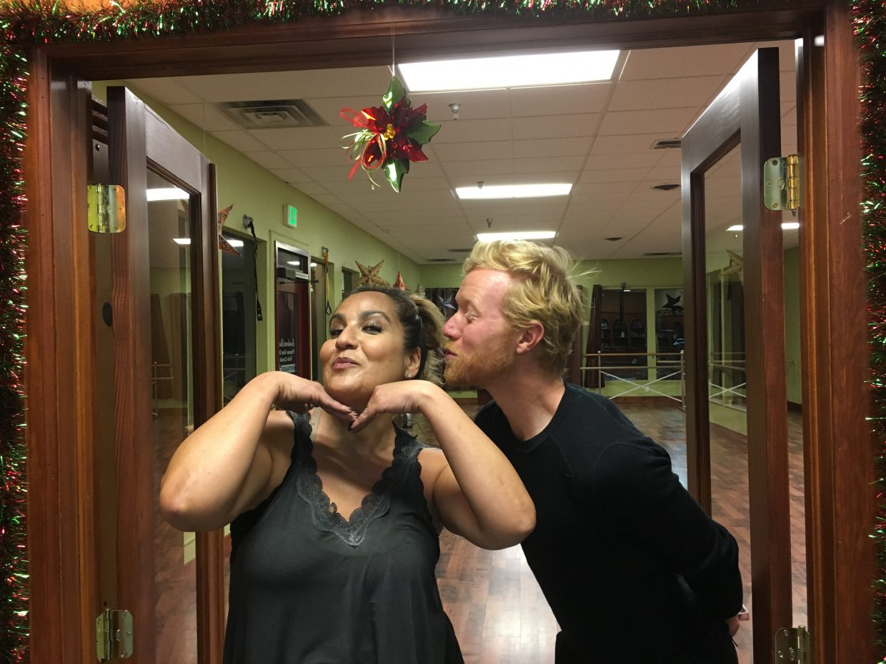"""Dance partners Paula Salky and Roddy Beall take a break during practice for the Northwest Rocky Mountain CASA's """"Dancing With The Stars"""" fundraiser being held Friday at the Strings Music Pavilion in Steamboat Springs."""