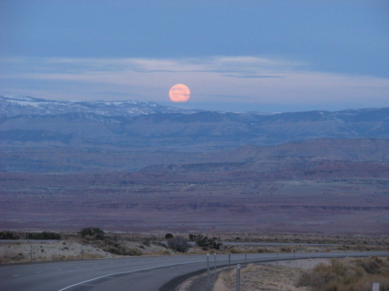 Moonset over Utah desert, California trip, March 17, 2014. Submitted by: Bill Fetcher