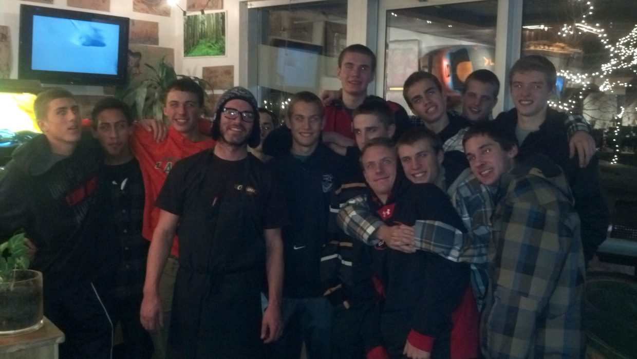 The Steamboat Springs High School varsity basketball team enjoys a team winning dinner at Cruiser's with Chris. Submitted by Tracy Bye.