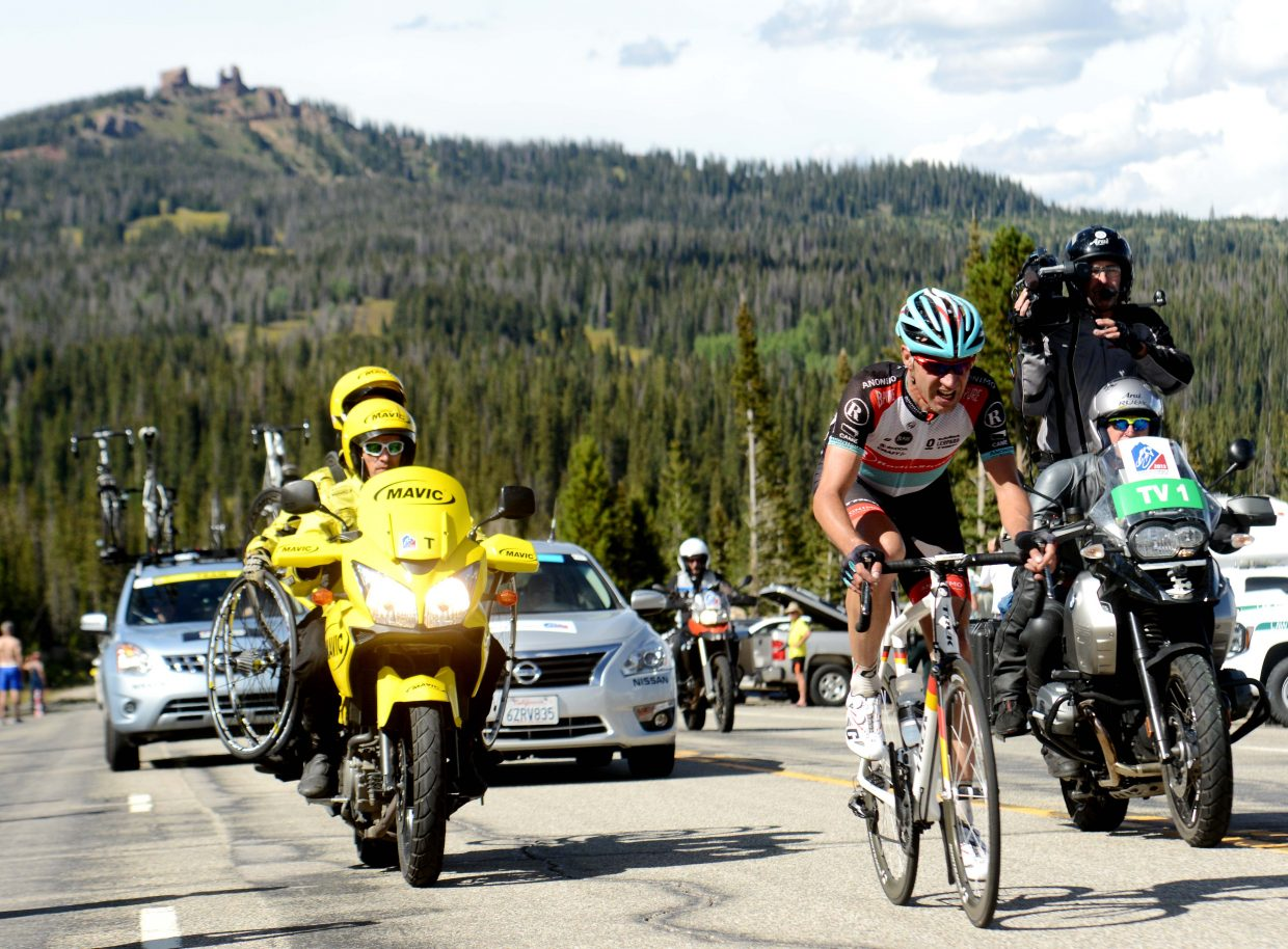 Jens Voigt rides alone across Rabbit Ears Pass during the 2013 USA Pro Challenge. He led for much of the race, but couldn't hang on in the end. He was passed within two miles of the finish line in Steamboat Springs.