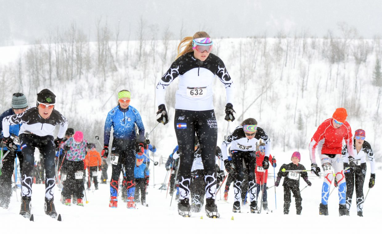 The tight 3-kilometer junior division pack takes off from the starting line Sunday morning at the season's first Sven Wiik Nordic Challenge Ski Race at The Home Ranch in Clark. The next Sven Wiik race will be Feb. 8 for the Ski Haus Classic at the Lake Catamount Nordic Center.