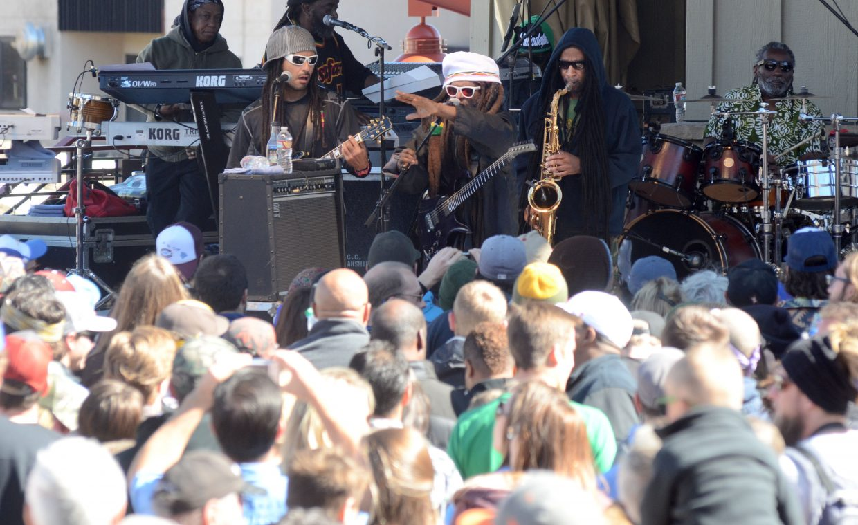 Reggae band Steel Pulse performs for a large crowd during Sunday's Steamboat Ski Area closing day festivities.
