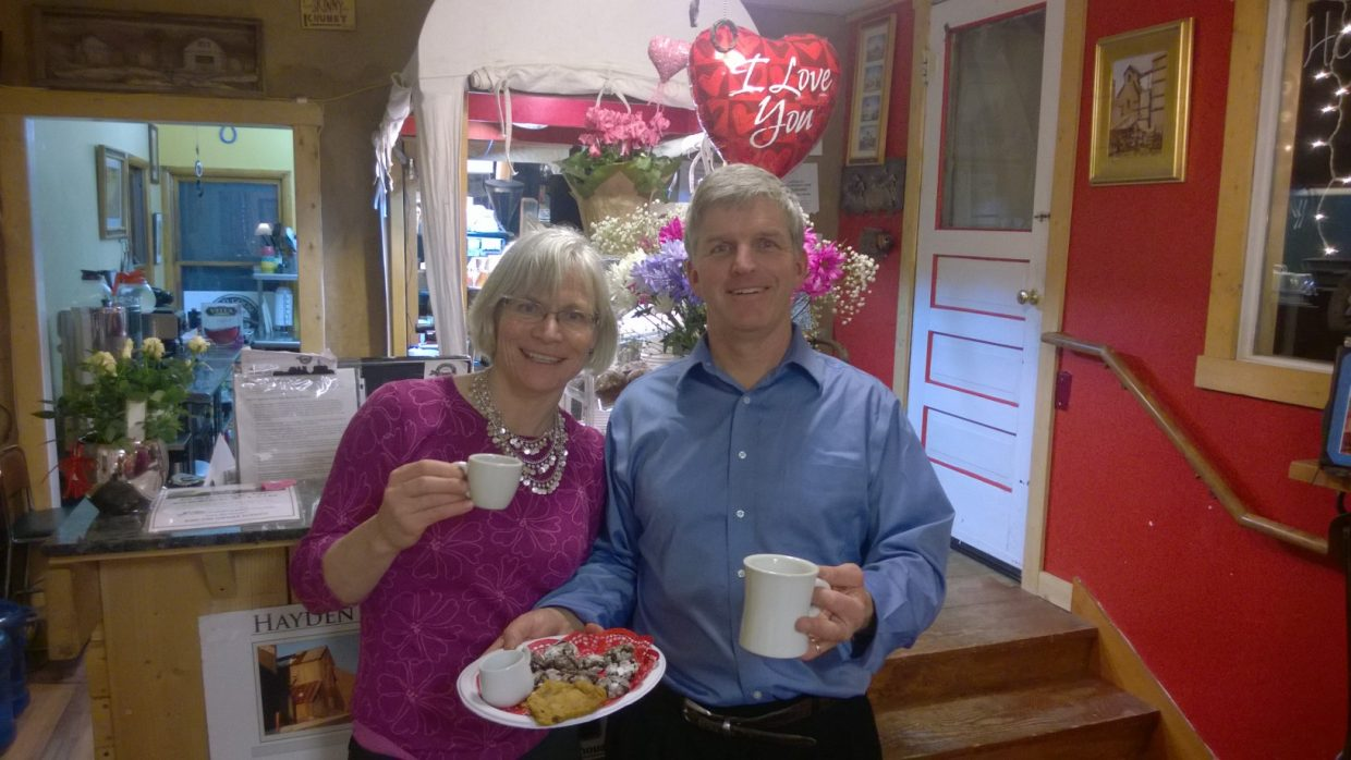 Hayden Chocolate Extravaganza: Patrick and Tammie Delaney at Wild Goose Coffee. Submitted by Wendy Lind.