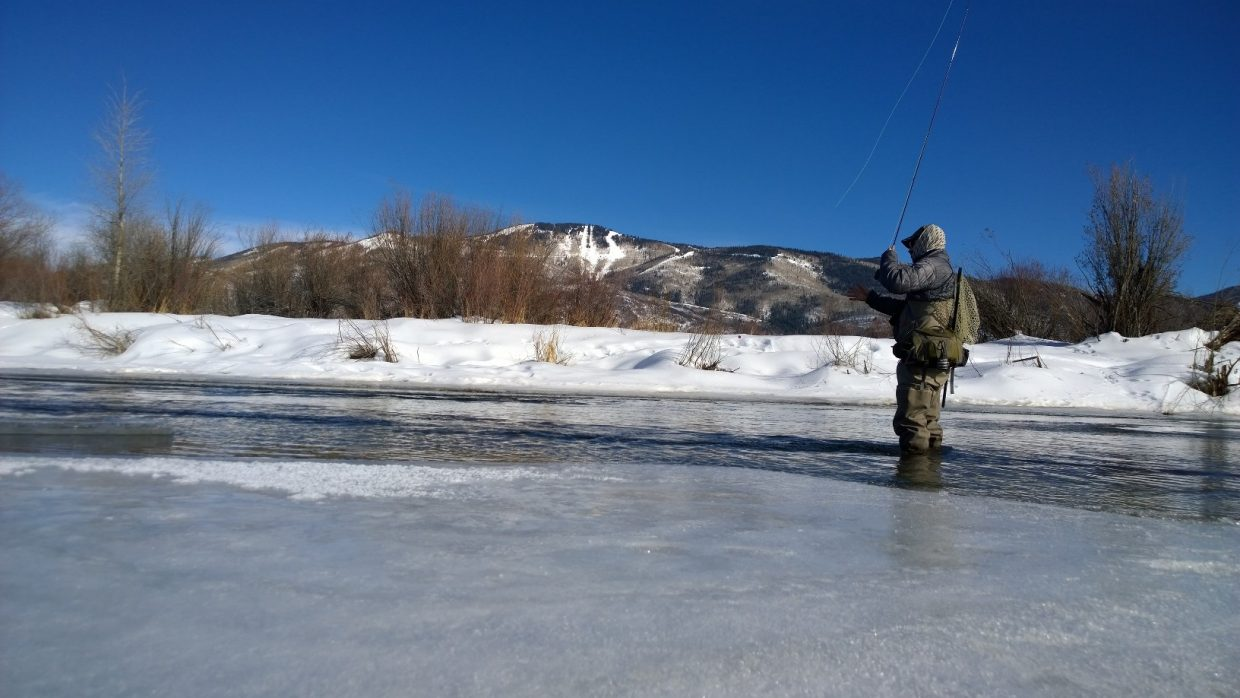 Fishing the Yampa near Chuck Lewis. Submitted by Michelle Harbin.