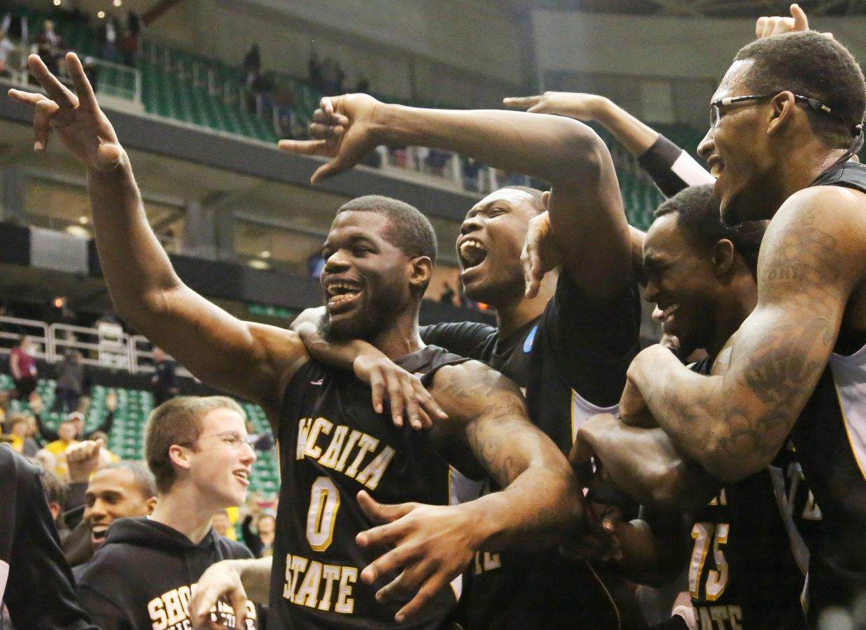 Wichita State University men's basketball players celebrate after upsetting top-seed Gonzaga in the first round of the 2013 NCAA tournament, played in Salt Lake City. The win propelled the Shockers and current Steamboat Today reporter Austin Colbert on a crazy journey to the Final Four.