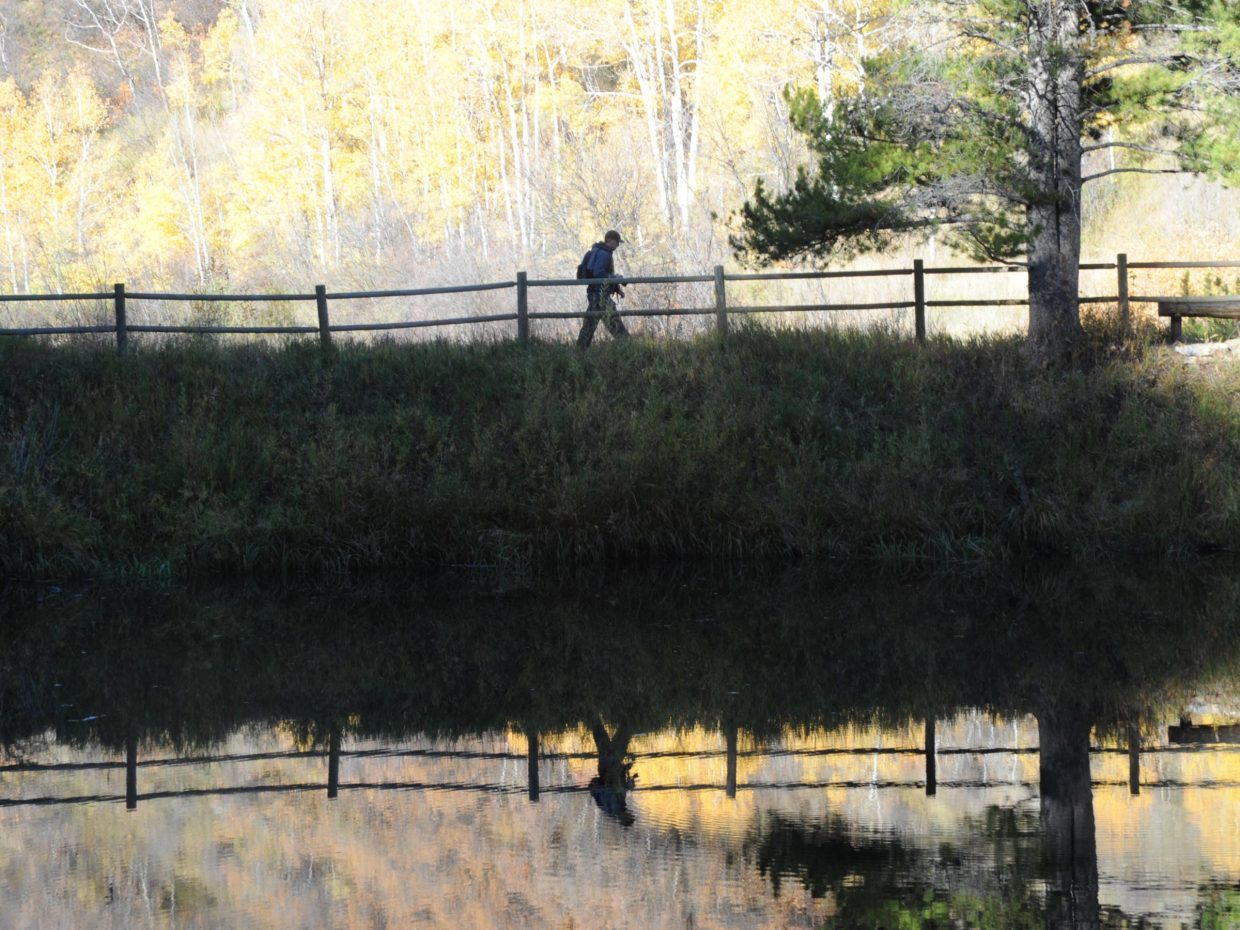 Reflection of a walker at Spring Creek pond. Submitted by: Lee McShane Cox