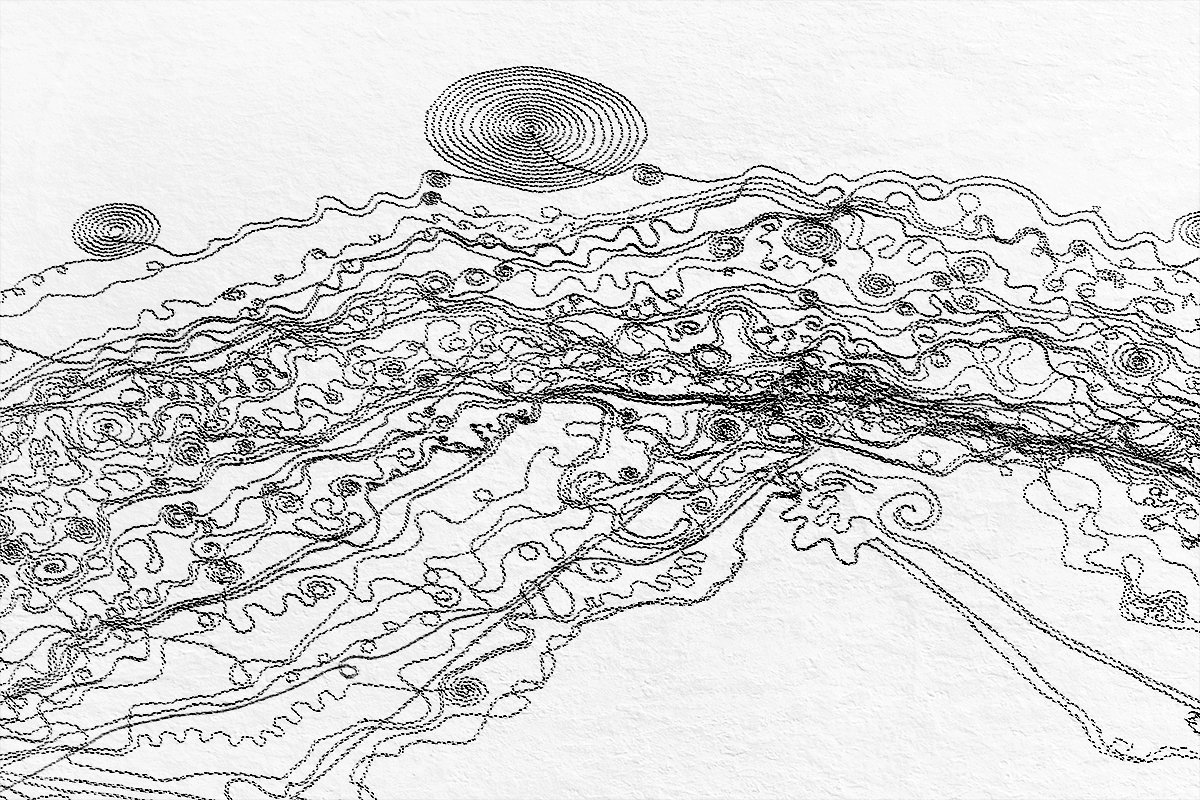 """""""We are the Water"""" was a snow drawing created by 50 volunteers under the leadership of artist Sonja Hinrichsen. The group, in an abstract sense, collaboratively recreated the original flow of the Yampa River and its four main tributaries within Routt County. The piece was photographed from an airplane the day after the event."""