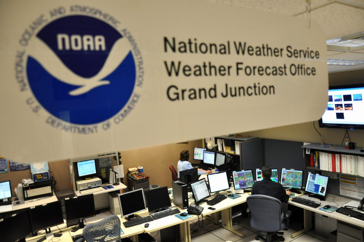 The National Weather Service Forecast Office in Grand Junction is equipped with a wide array of technology. Forecasters each use a workstation armed with several computer monitors pulling data from two computers.