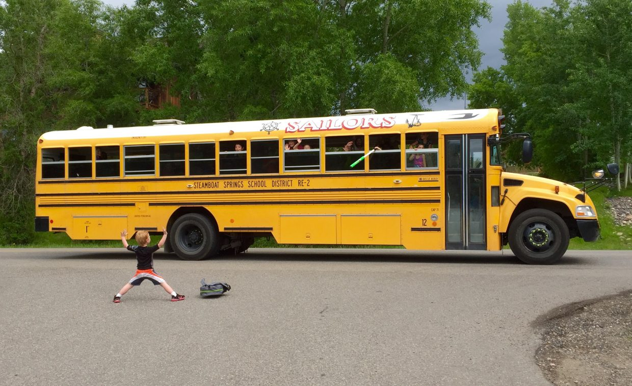 A last day of school bus ride water fight. Submitted by Wendy Harvey.