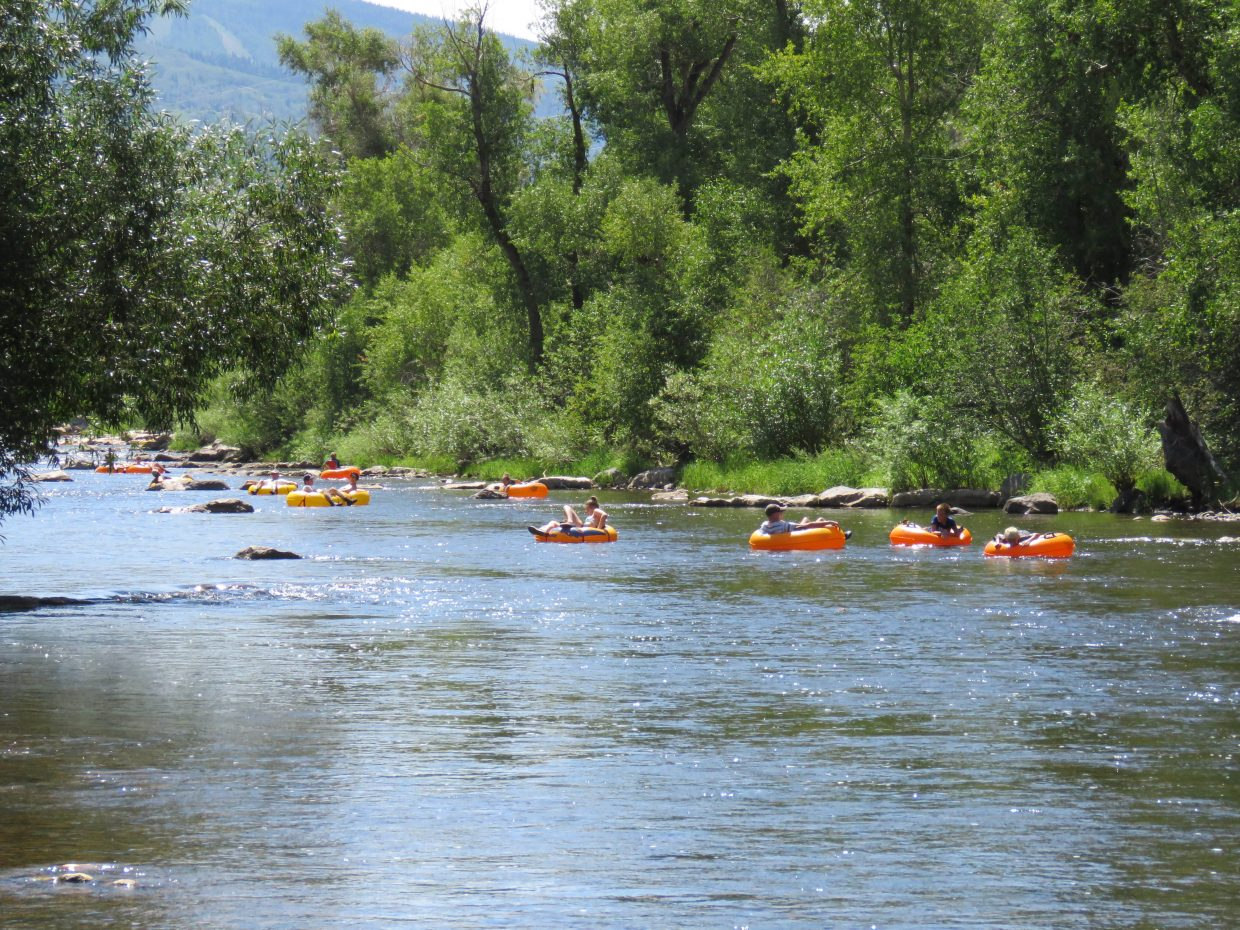 Tubers on the Yampa River.