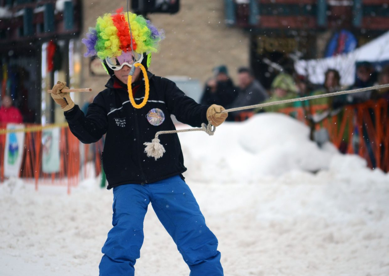 Griff Rillos, 9, competes in Sunday's ring and spear event at the 101st Winter Carnival.