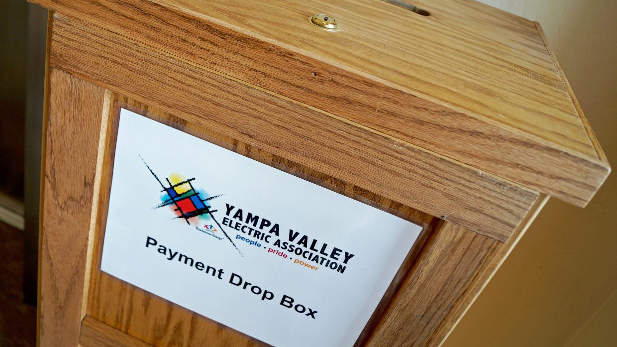 A Yampa Valley Electric Association payment box.