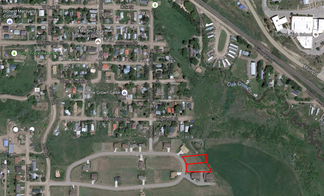 The red outline shows the approximate location of the two lots owned by Yampa Valley Housing Authority in Oak Creek.