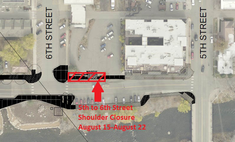 This map shows the area scheduled for closure between Fifth and Sixth streets for the week of Aug. 15 through 21.
