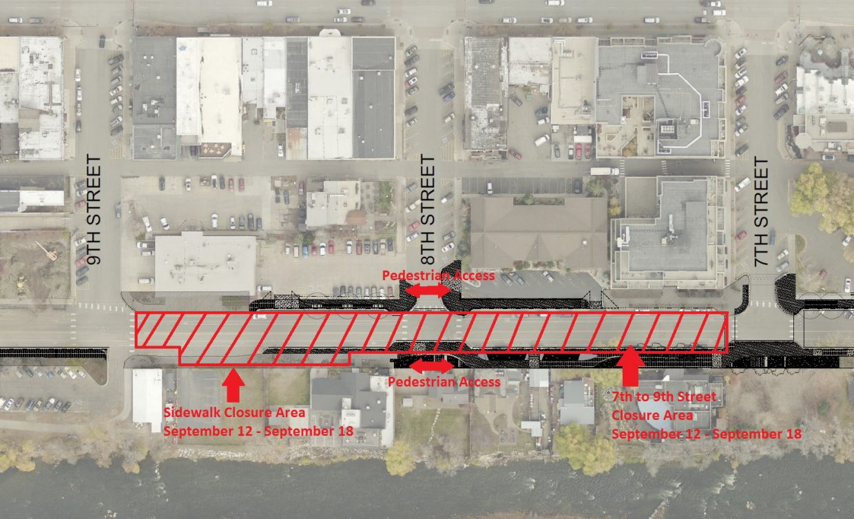 This map shows the Yampa Street closure area between Seventh and Ninth streets for the week of Sept. 12.