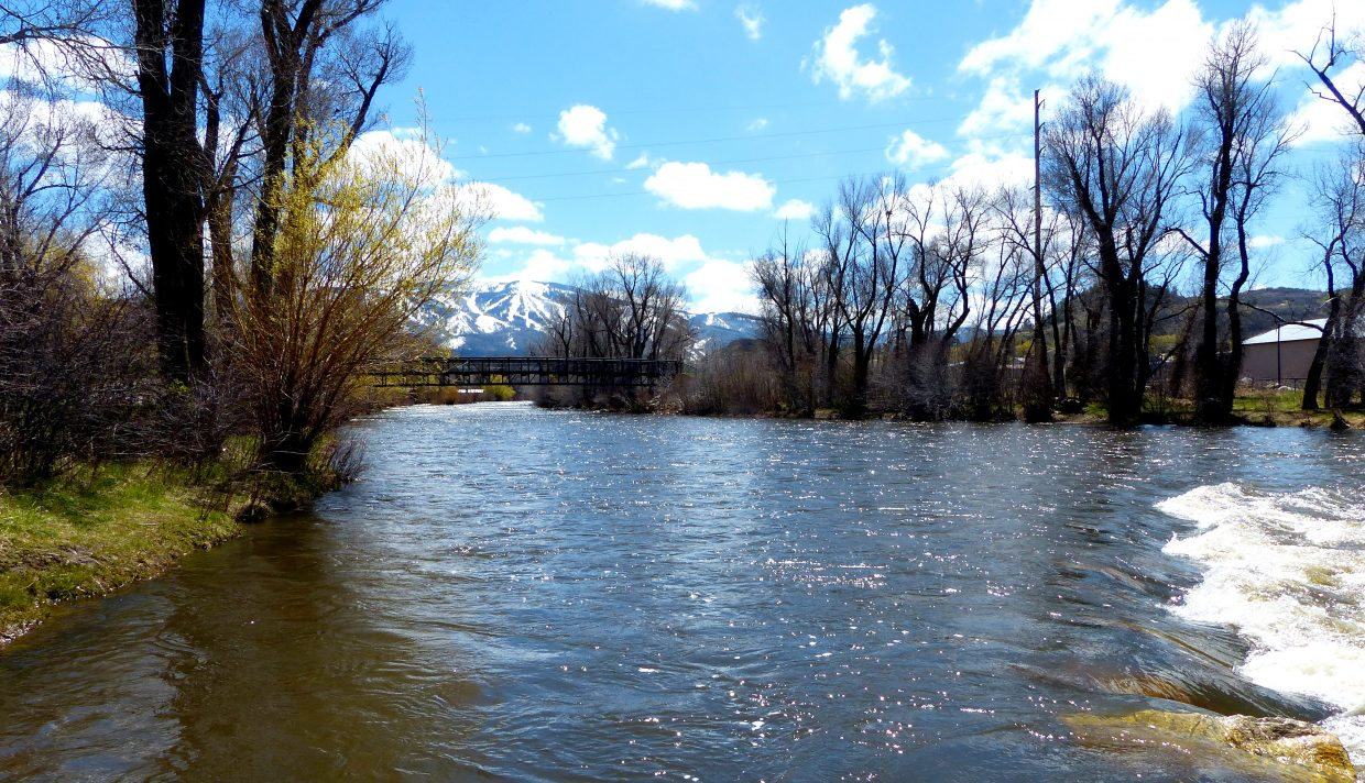 The Yampa River is rising as the mountain is melting.