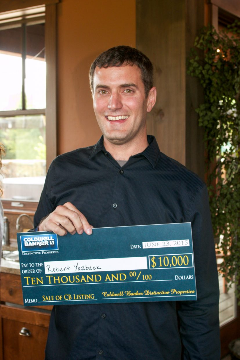 Coldwell Banker Distinctive Properties Managing Director Robert Yazbeck donated half of his $10,000 selling incentive prize to the Steamboat Springs Board of Realtors Scholarship Fund.