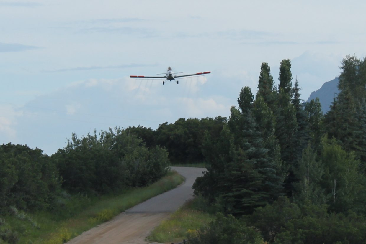 Air Raid! Mosquito control in Moon Hill. Submitted by Diane Miller.