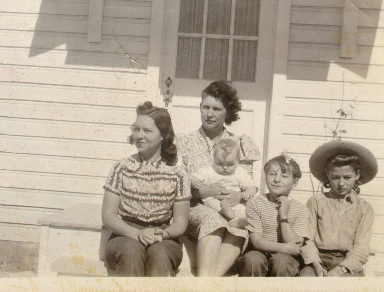 "Evelyn Semotan with her children in the 1940s. On Sept. 4 her daughter, Jo Semotan will speak at a Tread of Pioneers Museum Brown Bag Lecture titled ""Semotan Family Yarns and Quarter Horse Foundation History"" to talk about her life growing up in Routt County."