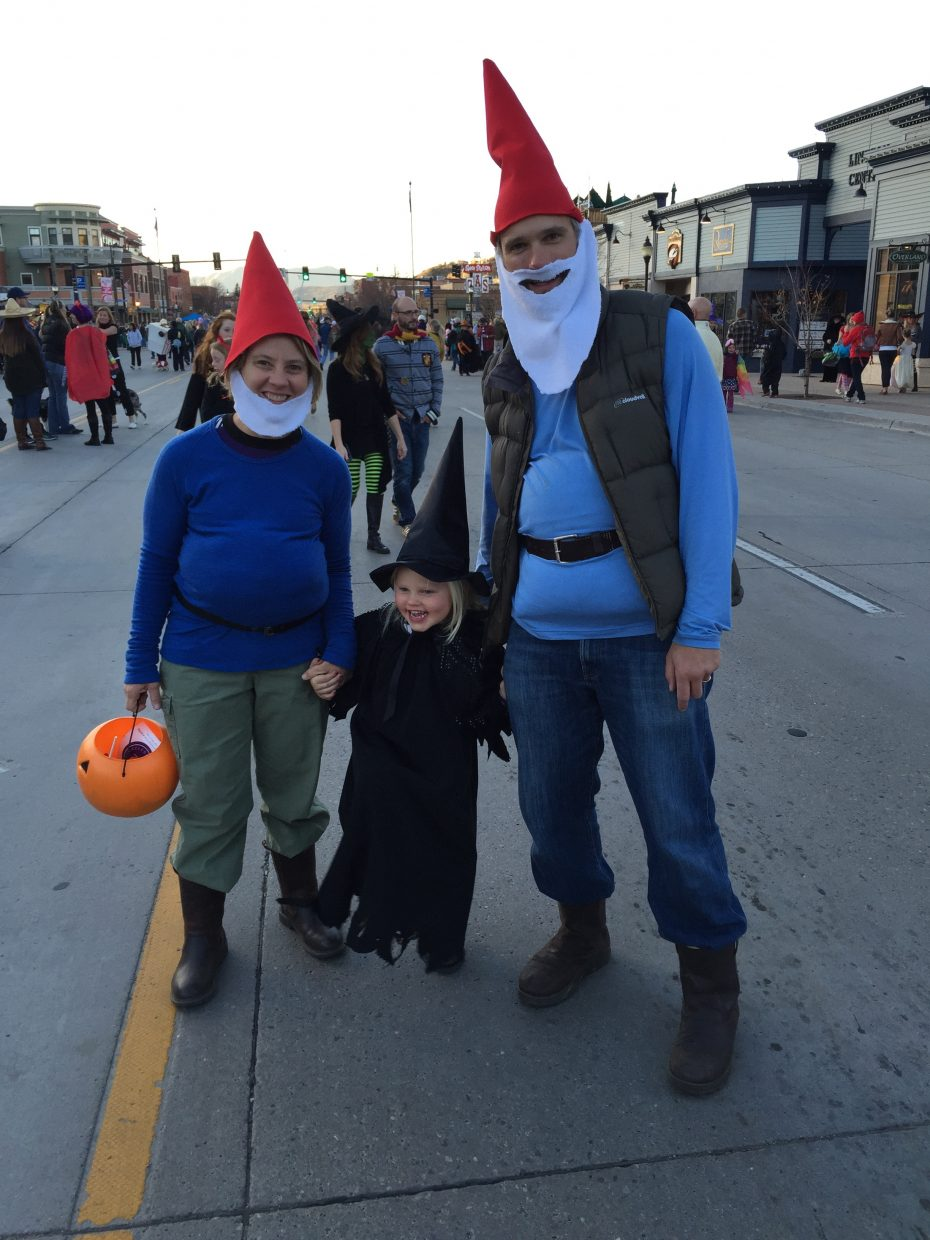 Blog writer, Kelly Bastone, and her family pose for a photo at last weekend's Halloween Stroll. A traditional event in Steamboat Springs.