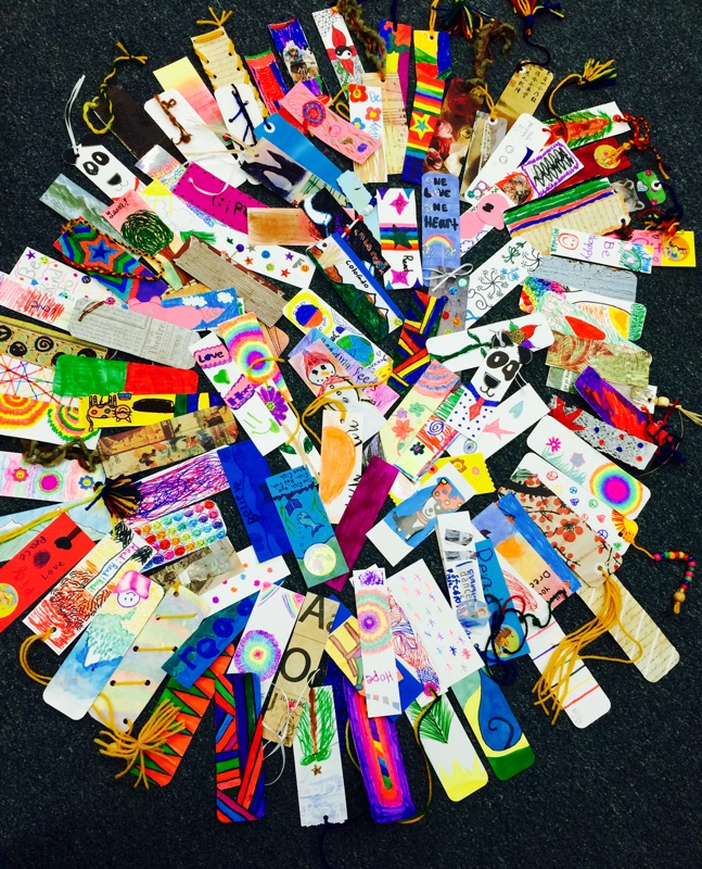 Yampa Valley High School students and Soda Creek Elementary third-graders made 118 bookmarks together Wednesday morning.