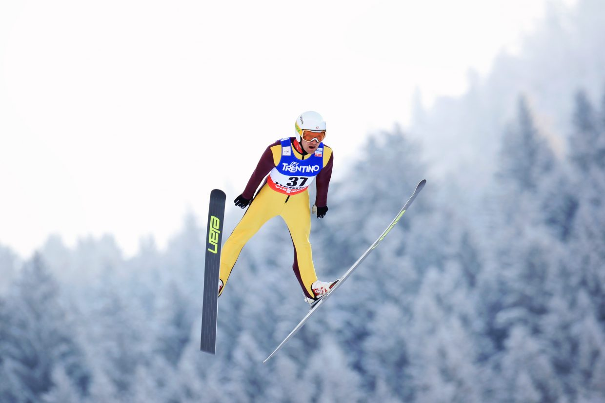 Bryan Fletcher jumps in the 2013 World Championships in Val di Fiemme, Italy.